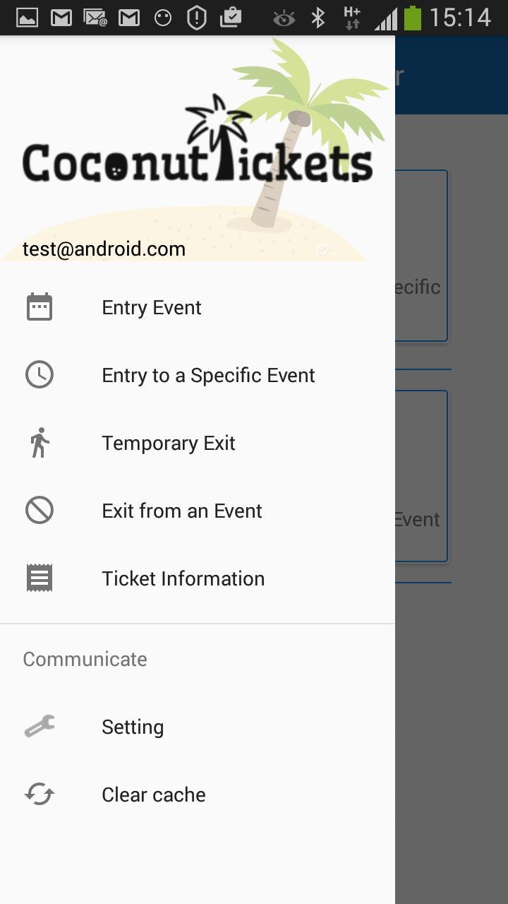 Coconut Tickets app drop down menu screenshot