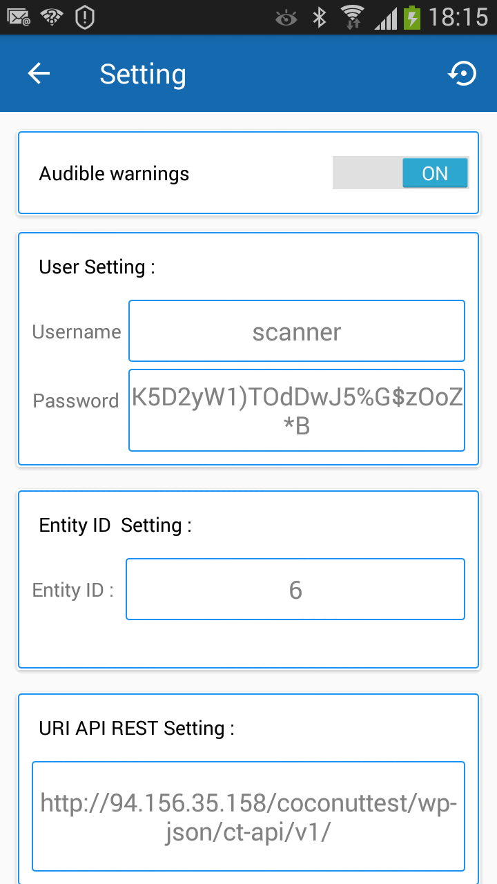 Coconut Tickets app settings page screenshot