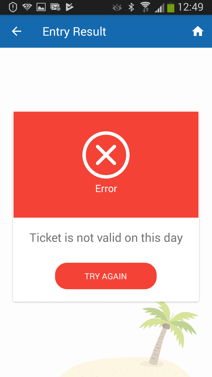 smart phone ticket scanning wrong date error