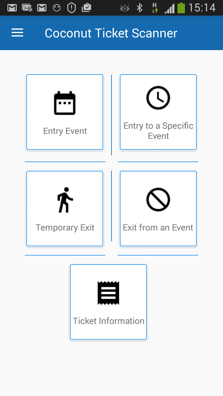 app home page event entry icons screenshot
