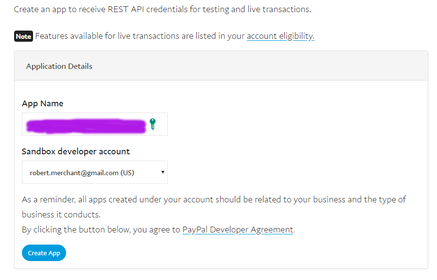 PayPal create new REST API screenshot