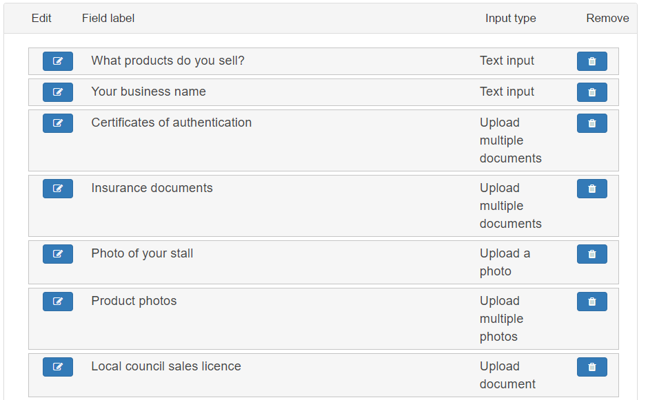 list of form fields making up the booking form