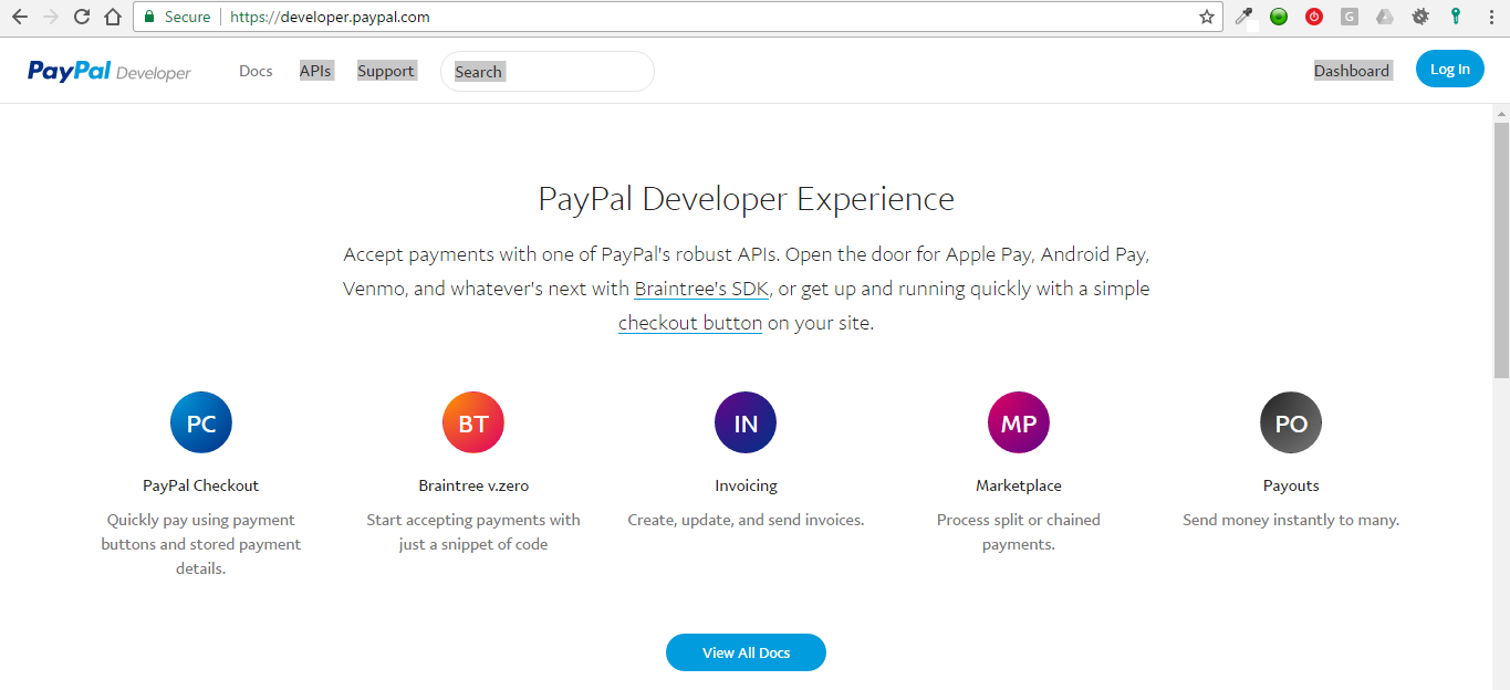PayPal develop website front page screenshot